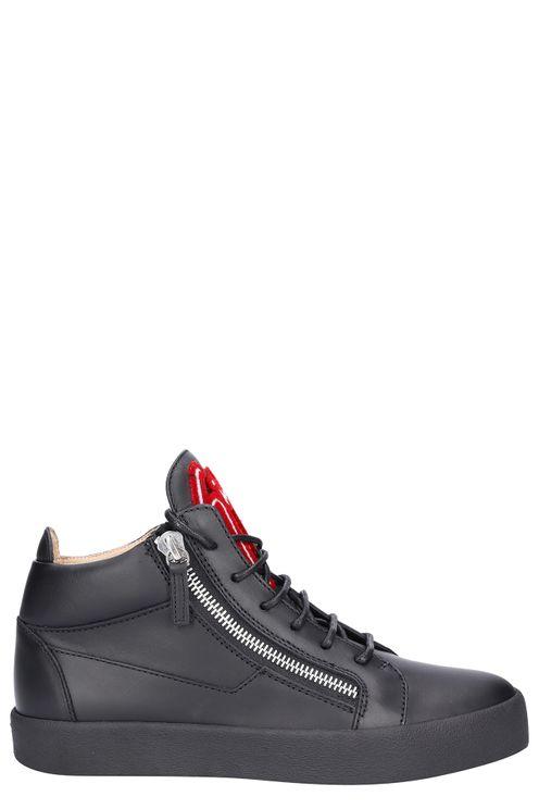 Men High-Top Sneakers KRISS Calfskin Logo Black - Spooky