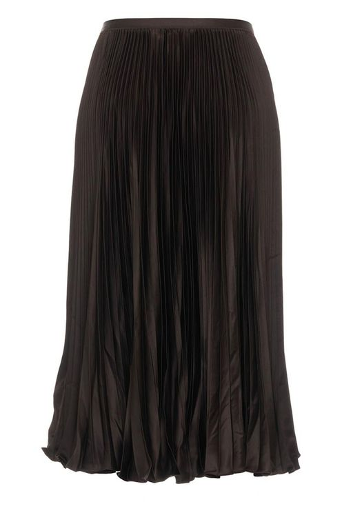 Midi Skirt With Pleats Brown