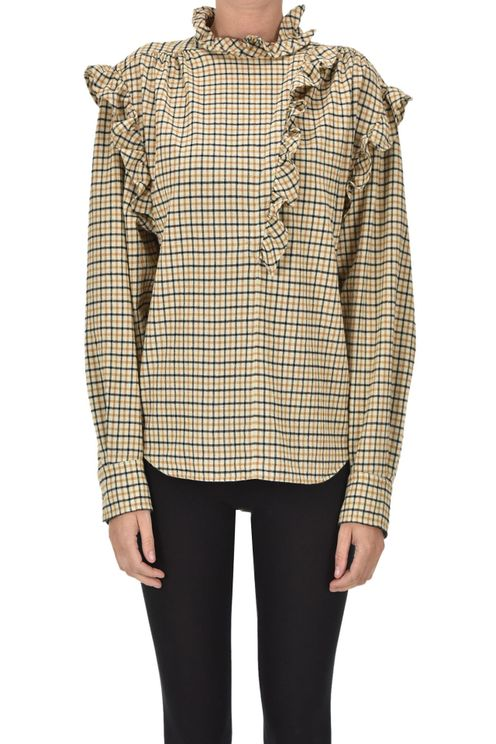 Checked Print Flannel Blouse